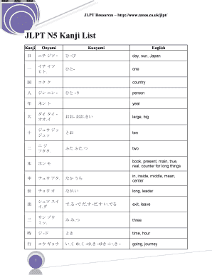 jlpt n5 vocabulary list pdf to Download - Editable, Fillable