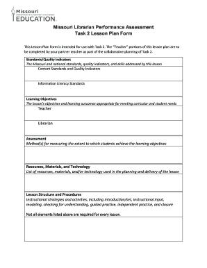 Missouri Librarian Performance Assessment Task 2 Lesson Plan Form