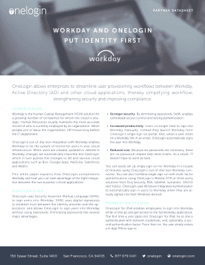Fillable Online WORKDAY AND ONELOGIN PUT IDENTITY FIRST Fax