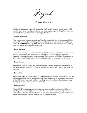 Fillable Online Concert Checklist DOC Fax Email Print - PDFfiller