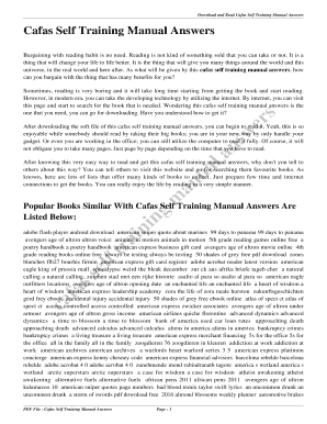 fillable online cafas self training manual answers cafas self rh pdffiller com
