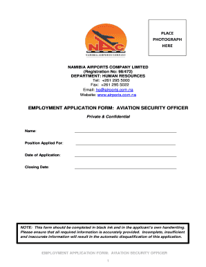 fillable online employment application form aviation security
