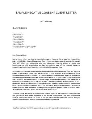 SAMPLE NEGATIVE CONSENT CLIENT LETTER Fill Online, Printable