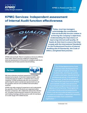 Printable sample internal audit report kpmg - Edit, Fill Out