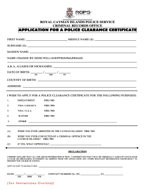 407567359 - Cayman Island Police Clearance Online Application Form
