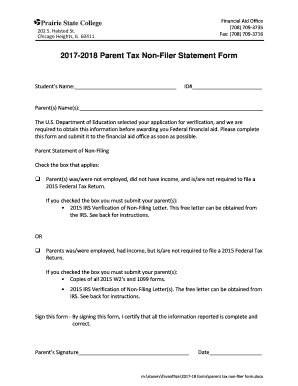 Fillable Online 2017-2018 Parent Tax Non-Filer Statement Form