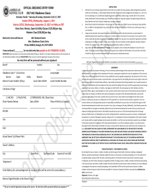 Fillable Online OFFICIAL OBEDIENCE ENTRY FORM 2017 AKC Obedience ...