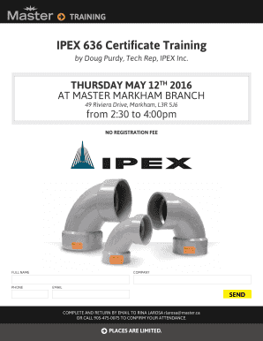 Fillable Online IPEX 636 Certificate Training - Master ca