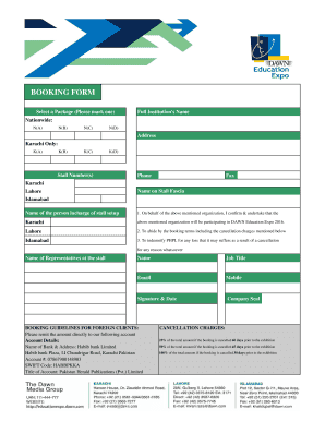 Fillable Online bOOKING fORM 2016 - Dawn Fax Email Print - PDFfiller