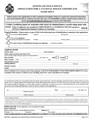 APPLICATION FOR A NATIONAL POLICE CERTIFICATE Fill Online
