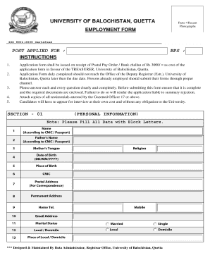 fillable online employment form university of balochistan fax