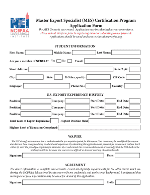 Fillable Online MES Application Form - ncbfaa Fax Email