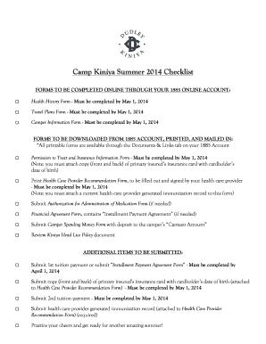 2014 Kiniya Forms Checklist