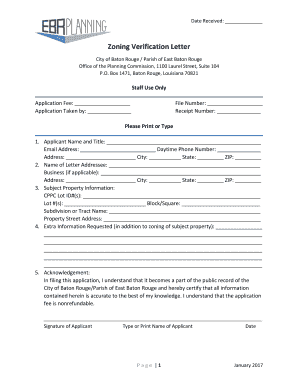 Fillable Online Zoning Verification Letter City Of Baton Rouge Fax