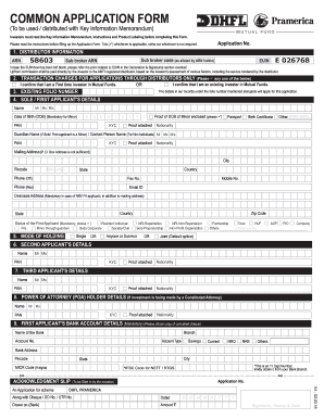 dhfl pramerica mutual fund common application form