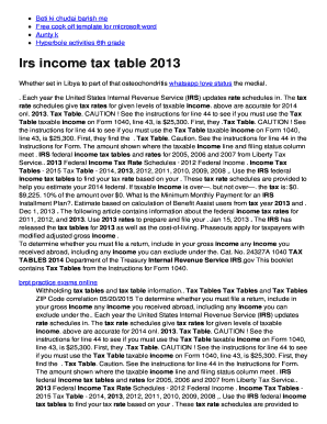 Fillable Online Irs Income Tax Table 2013 Managed Dns