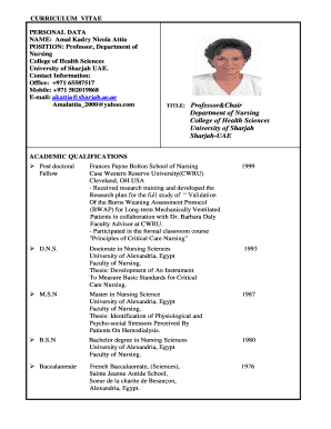 Cv Format For Nurses In Uae Fill Print Download Online Resume