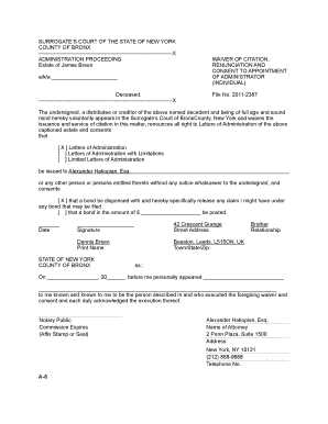 new york surrogate court forms receipt and release