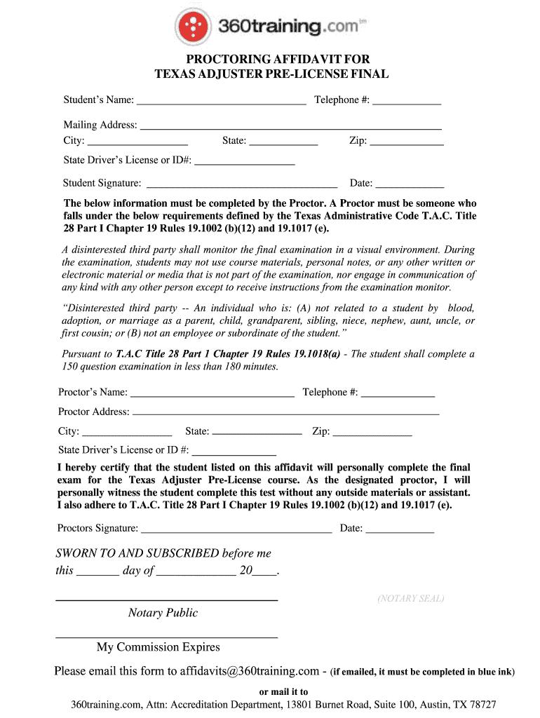 TX 360Training Proctoring Affidavit for Adjuster Pre ...