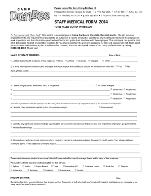 Fillable Online Please return this form Camp Danbee at: Fax