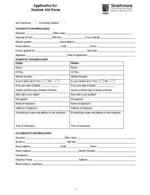 Fillable Online FAO application form - Strathmore University