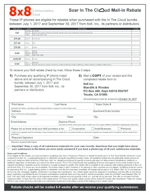 Fillable Online 8x8 Soar In The Cloud Mail-In Rebate Form V2 Fax ...