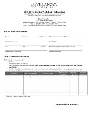 2017 18 verification worksheet independent fill online printable fillable blank. Black Bedroom Furniture Sets. Home Design Ideas