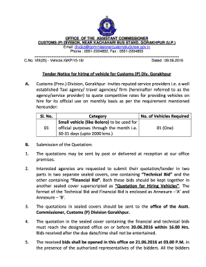 Fillable Online Tender Notice for hiring of vehicle for Customs