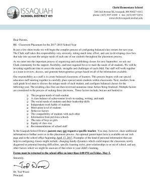 Fillable letter to parents from teacher beginning of the
