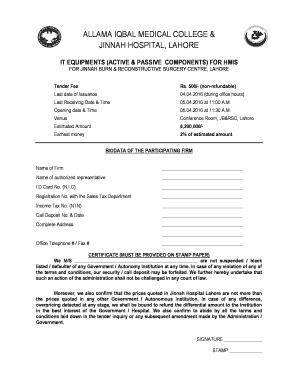 Fillable Online Bidding Document - ppra services portal Fax