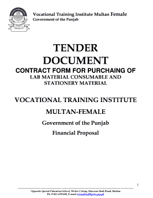 Fillable Online tender document for procurement of self