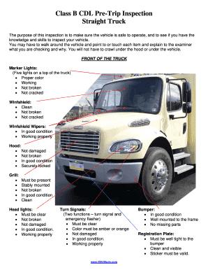 Class B Cdl Pre Trip Inspection Fill Online Printable