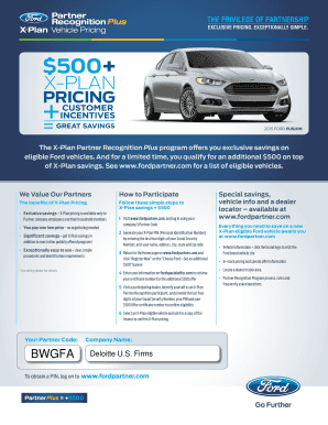 Ford X Plan Pricing >> Fillable Online X Plan Fax Email Print Pdffiller