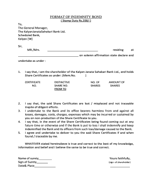 state bank indemnity form