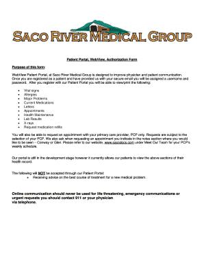 Fillable Online Patient Portal Webview Authorization Form Fax