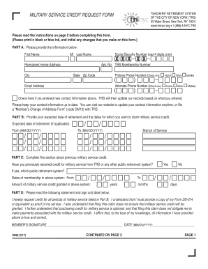 fillable online military service credit request form fax email print