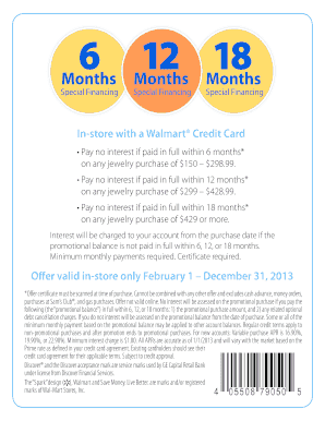 In-store with a Walmart Credit Card Fill Online, Printable