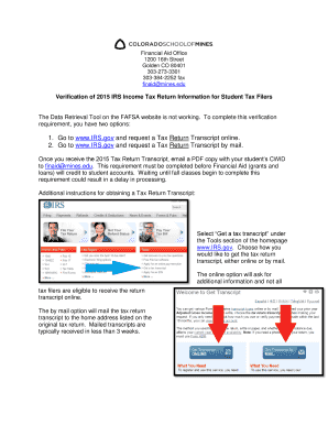 Printable irs get transcript online not working - Fill Out