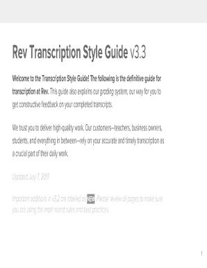 Fillable Online Rev Transcription Style Guide v3 Fax Email