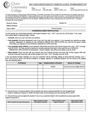 2017 2018 dependent verification worksheet 3 fill online printable fillable blank. Black Bedroom Furniture Sets. Home Design Ideas