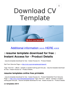 Editable cv template word download Fill Print Download