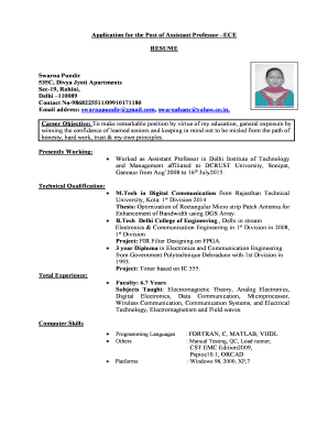 Fillable Online Application For The Post Of Assistant Professor ECE
