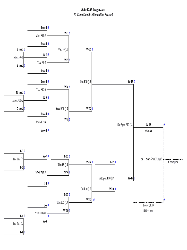 Fillable Online 10-Team Double Elimination Bracket Fax Email