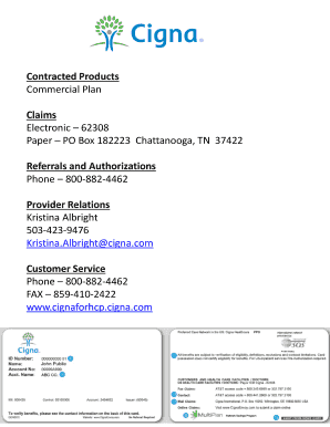cigna claims fax number 859 Fillable Online Contracted Products Fax Email Print - PDFfiller