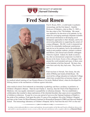 Fillable Online Fred Saul Rosen - Harvard Medical School Fax Email