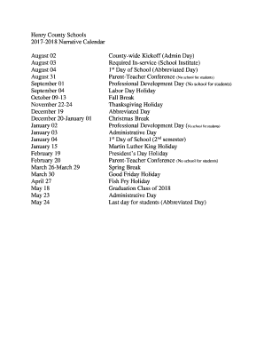 Henry County School Calendar.Fillable Online August 02 Fax Email Print Pdffiller