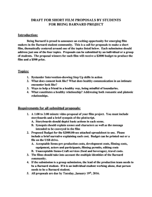 Draft For Short Film Proposals By Students