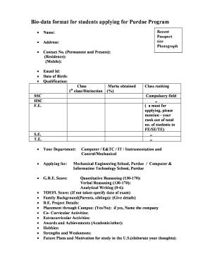 student bio data format
