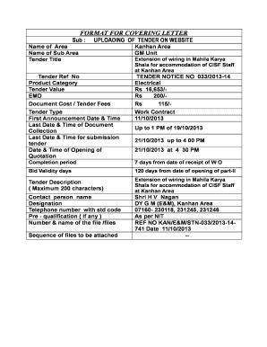 Fillable Online FORMAT FOR COVERING LETTER Fax Email Print - PDFfiller