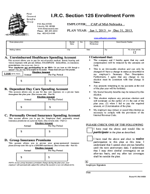 Fillable Online Section 125 Cafeteria Enrollment Form.pdf Fax ...